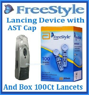 ABBOTT FREESTYLE Finger Lancing Device with CLEAR AST CAP & 100Ct Sealed Lancets