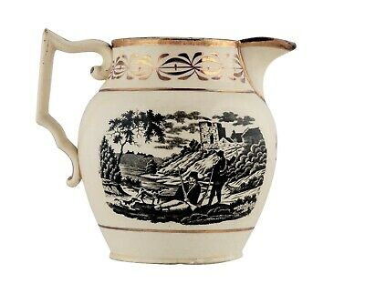 A Vintage Lustreware Transferware Printed Pitcher French Soldiers Scene