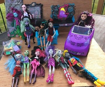 Lot of 12 Monster High dolls with car,couch,chair,cupboard,vanity,& accessories
