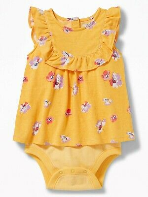 Old Navy Baby Girl 2 in 1 Sleeveless Bodysuit Dress Yellow Floral Size 12-18 mo