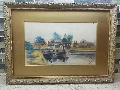 Early 20th Century Nautical Watercolor Painting Signed Bermuda? Island? Europe?