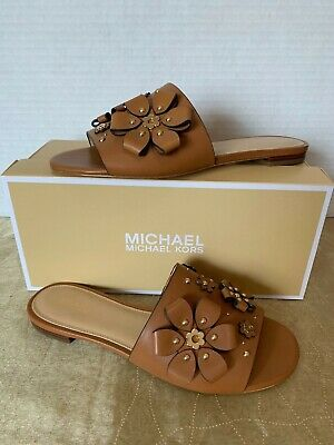 0f7a4eee865 Michael Kors Leather Acorn Brown Tara Floral Slides Sandal Flat Shoes Size  7 Nib