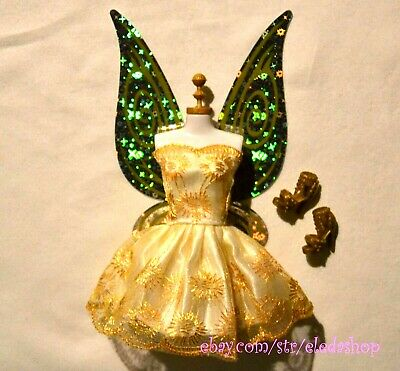 Barbie Doll Tinker Bell Disney Fairy Replacement Wings Dress Shoes Set Gold
