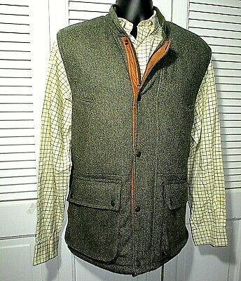 fc8b51e60601f Orvis Wool Tweed Hunting Vest~Insulated, Multi-Pocket, Leather Trim~Men's