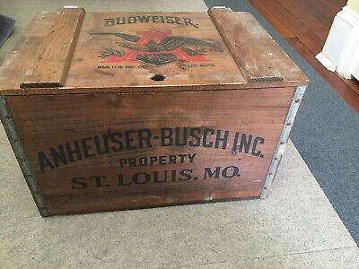Vintage Anheuser Busch Wooden Ice Box With Lid Eagle Logo Budweiser