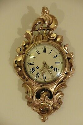 Vintage Cartel Franz Hermle 8 day Wall clock Giltwood striking on the bell