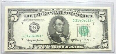 Crisp Exceptional 1950 E $5 Federal Reserve Star Note-Key Note Of The Series!