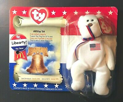 Libearty The Bear Ty Beanie Babies Mcdonalds Vintage With Box! Rare Collect!