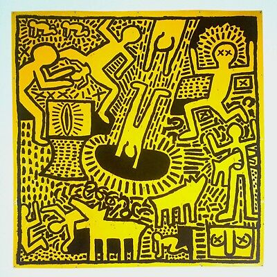 """Keith Haring Estate Rare 1993 Collector's Lithograph Print """"Yellow People"""" 1981"""