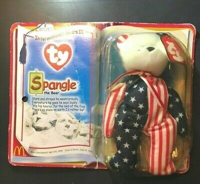 Spangle The Bear Ty Beanie Babies Mcdonalds Vintage With Box! Rare Collect!