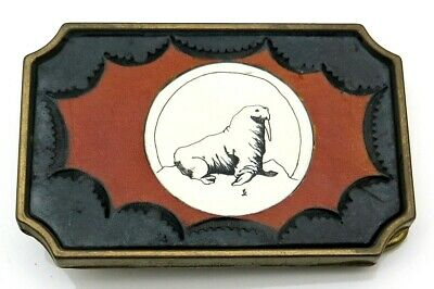Walrus Scrimshaw Leather & Brass BTS 1970's Vintage Belt Buckle