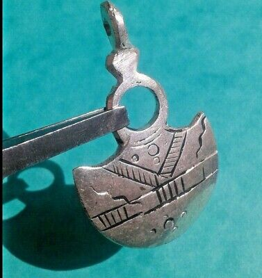 Genuine Ancient SILVER VIKING Hammer Thors Axe amulet PENDANT C 8th-9th.cent AD