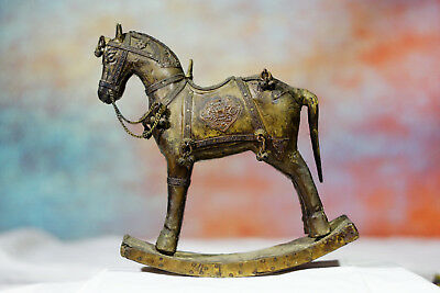 Antique rare Rocking Wooden War Horse With Armored Brass Copper Inlay