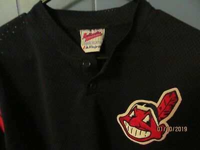 new arrival c8b32 cd6f0 CLEVELAND INDIANS NAVY Mesh Majestic Batting Practice Jersey Size 48/L