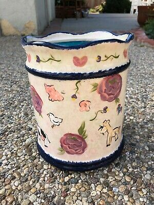 Lesal Ceramics Hand Painted Canister with top Farm Scene large signed