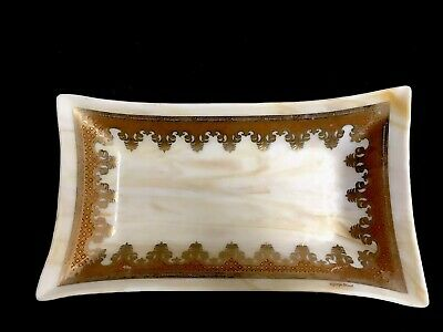 Georges Briard Mid Century Glass Serving Dish Tray Signed Opaque Vintage