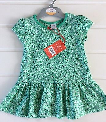 Baby Girl 9-12 Months NEW Miniclub Dress Ditsy🌼  Floral Green Jersey Cotton