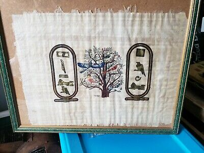 LARGE Framed Antique **TREE OF LIFE** Egyptian Painting on Papyrus Signed!!!