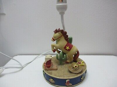 "Kids Room Table Lamp Western Theme Horse Cactus Boots Hat Star Horseshoe 12"" T"