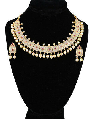 Exquisite Sense Of Style Gold Plated Ad Cz Bridal Necklace With Rubies And Pearl