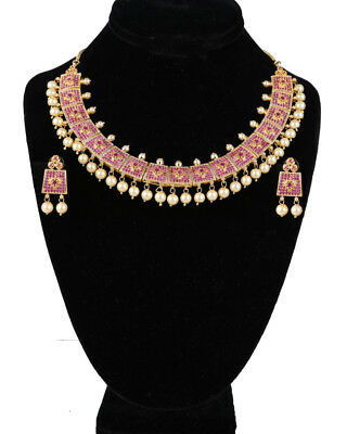 High Quality Gold Plated Simulated Ad Cz Bridal Necklace With Rubies And Pearls