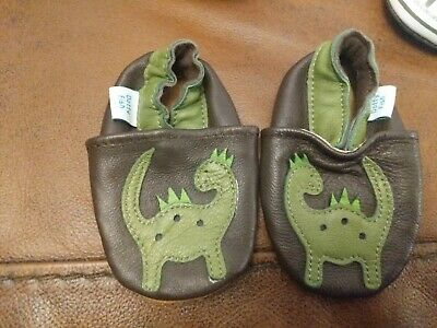 Dotty Fish Soft Leather Baby & Toddler Shoes - Dinosaur - 0-6 Months