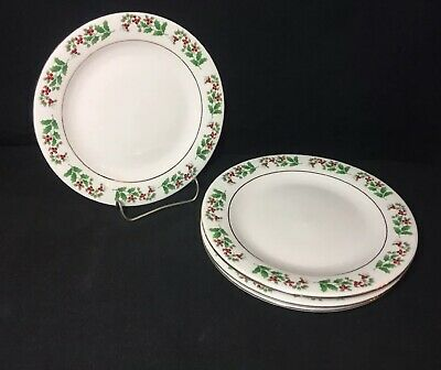 Gibson Everyday Christmas Charm Holly & Berries Bread Butter Plates Set Of 4