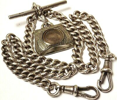 Antique 1920 Solid Silver Double Albert Watch Chain & Compass Fob
