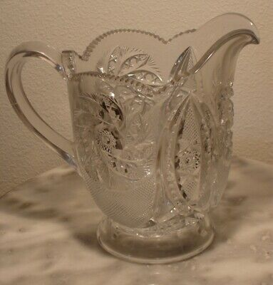 EAPG Paddle Wheel Shield Clear Crystal Milk Pitcher Scarce!
