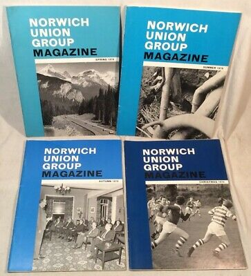 4x Collectable Rare Vintage Norwich Union Group Magazines 1970