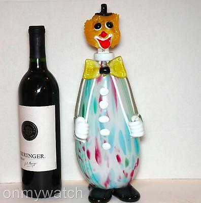BAR Vtg MURANO 🇮🇹 Clown DECANTER Large Bottle ArT GLaSs Italy LABEL
