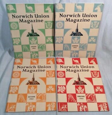 4x Collectable Rare Vintage Norwich Union Group Magazines 1963