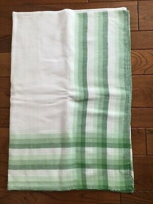 "Vintage Linen Cotton Stripe Plaid Tablecloth Green 54 x 74""  Lovely"