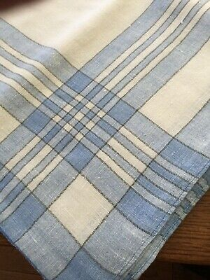 "Vintage Linen Cotton Stripe Plaid Tablecloth Blue 56 x 74""  Lovely"