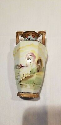 2 handled Antique Nippon Hand Painted Vase 5.5""