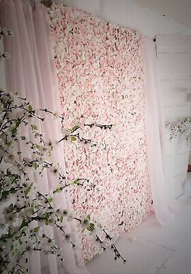 Flower Wall Blush & Cream,  Stand And Drapes ** For Sale**