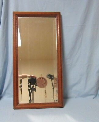 Antique solid oak beveled mirror wall hanging 28x14 inches arts and crafts style