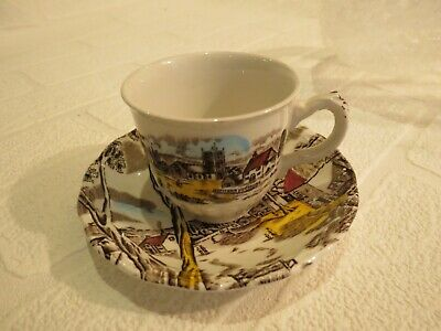 "HAND COLOURED ""SUNDAY MORNING"" Tea cup saucer BY W.H GRINDLEY STAFFORDSHIRE"