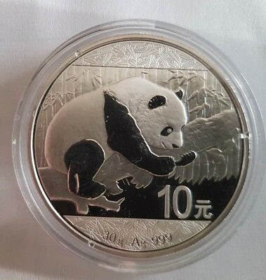 2016 Chinese Panda 30 Gram .999 Silver 10 Yuan Mint Sealed BU in  Capsule  Coin