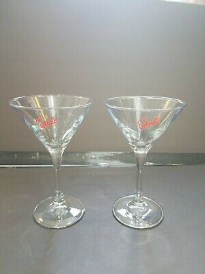 Set of 4 Clear Glass Stoli Martini Glasses Unique Z Shape Crooked Stem!