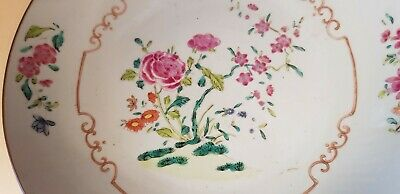 Antique Chinese porcelain plate 18e century, famille rose,  22cm
