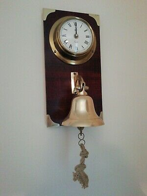 Vintage Brass  Ships porthole Clock & Bell Wall Mounted Barge /Marine /Boat bar