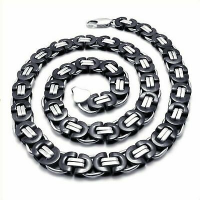 "18-40""MEN Stainless Steel Wide 9mm Silver/Black Byzantine Box Chain Necklace"