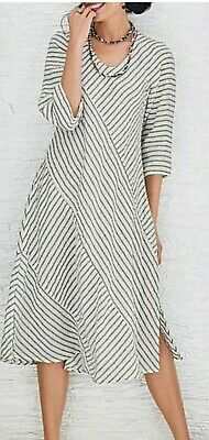 f3d16045a0 Lisa Bayne XXL 1X White black Striped Linen Lagenlook Artful home Maxi Dress