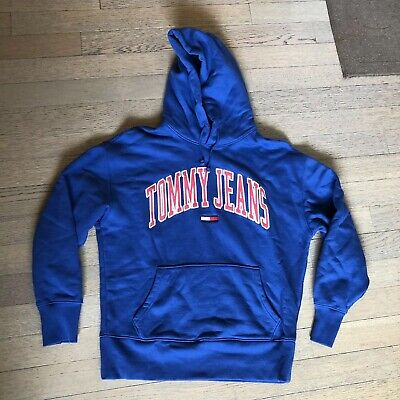 Men's Clothing Useful Tommy Jeans Blue Hoodie Hilfiger ~ Excellent Condition ~ Size Large~100% Cotton Activewear