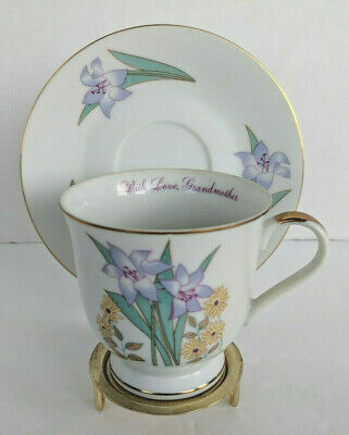 Vtg Russ Berrie With Love Grandmother Lily Flowers Tea Cup & Saucer Set W/Holder