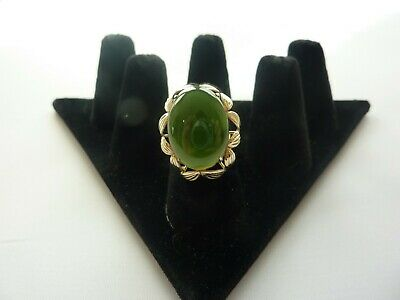 Ladies 14kt Yellow Gold Jade Cocktail Ring Size 6