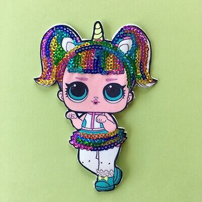 Lol  Doll Sequin Fabric Appliqué Patch Sew On Girls Character Unicorn