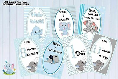 "Baby Milestone Cards Elephants Blue Boys Pkt of 35 Cards Baby shower Gift 6""x4"""