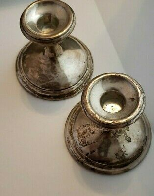 Set of Two  N.S. Co Sterling Silver Weighted Candlestick Holders Scrap 359g each